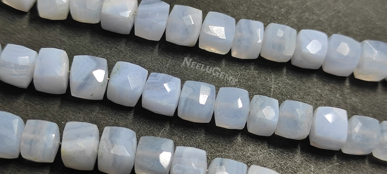 Beautiful Natural Blue Lace Agate Faceted 3D Cube Boxes Beads Strand Blue Lace Agate 3D Cube Beads 8Strand 6-7MM  Blue Lace Agate Beads