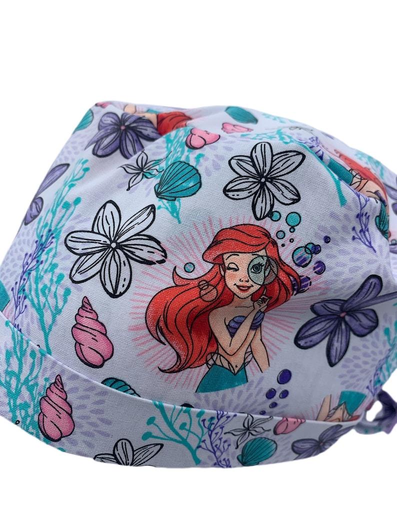 Ribbon Bow Ties White Ariel Scrub Hat Mermaid Ponytail Scrub Cap Cotton Disney Ariel Surgical Cap Ponytail Cap Long Hair