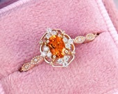 Citrine engagement ring Vintage ring Oval shaped ring Moissanite ring Diamond engagement ring Rose gold ring Promise ring Anniversary ring