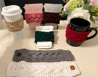 Cable Knit Cup Cozy | Handmade Mug Cozy | Reusable Cozy with Button