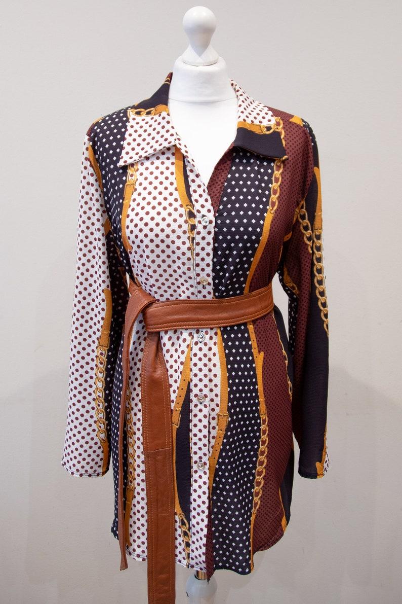 Vintage 80s Baroque Print Blouse Burgundy White Big Collar Long Size XL