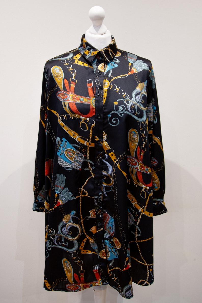 Vintage 80s Baroque Print Black Blouse Oversized Long Button Up Size L