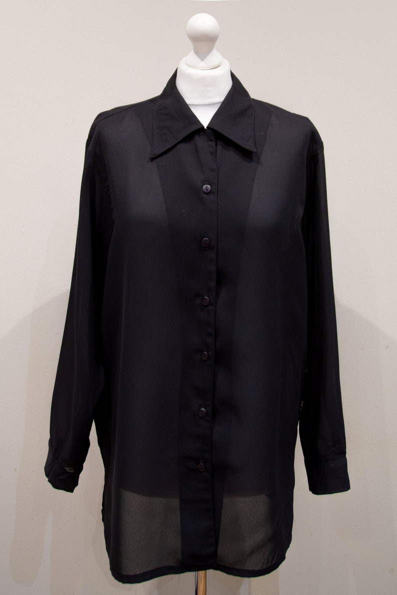 Vintage 90s Black Sheer Blouse Big Straight Collar Button Up Lateral Slit Size L