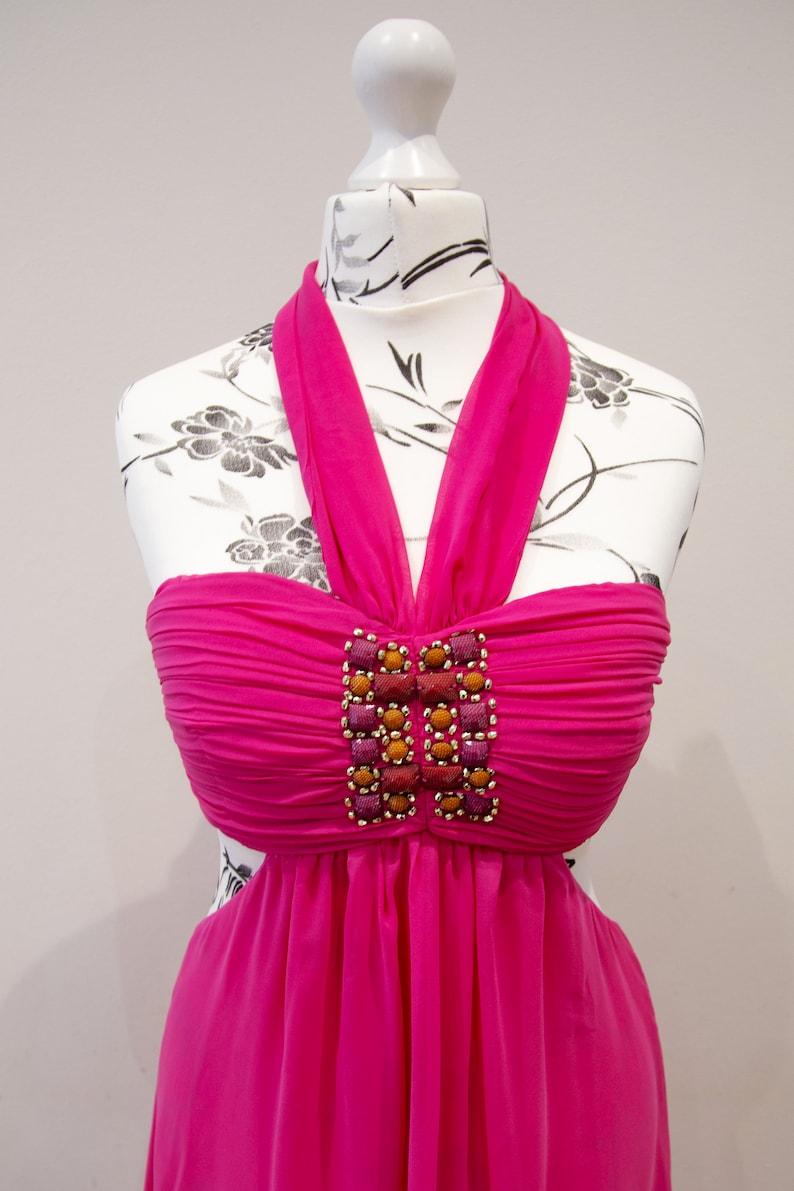 Vintage 90s Fuchsia Long Dress Sleeveless Hip Cut Out Collar Scarf Size UK 8 S