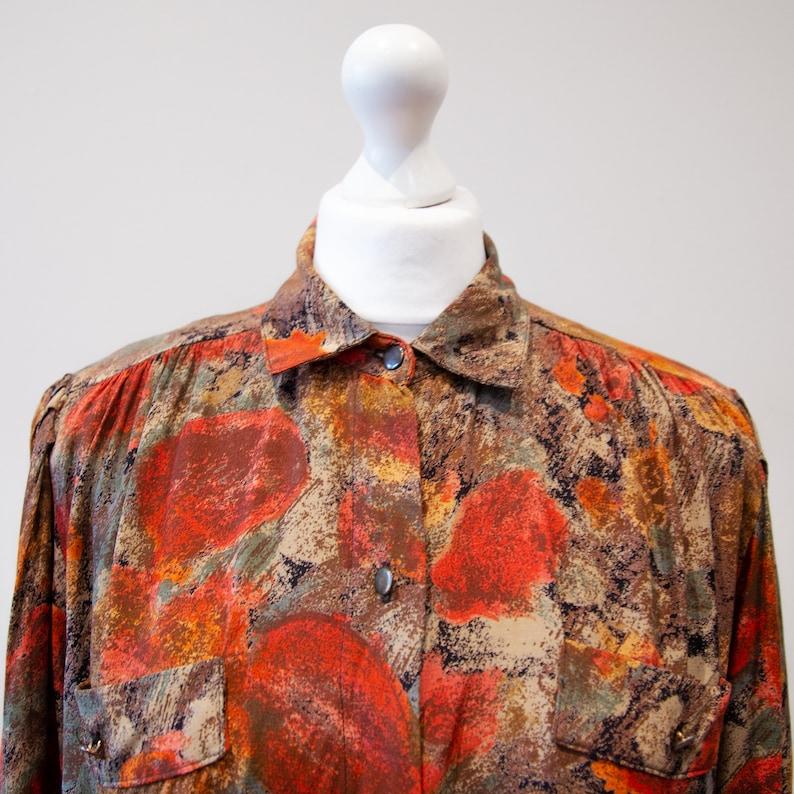 Vintage 70s Brown Orange Blouse Shirt Puffed Shoulders Floral Print Size M UK 14
