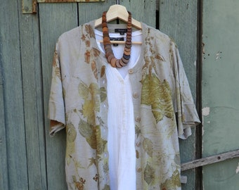 Eco print wool longline cardigan.  Upcycled sweater. Hand printed jumper.  Botanical print . Natural dyes.