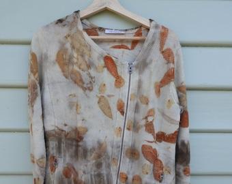 Eco print merino wool cardigan.  Upcycled sweater. Hand printed jumper.  Botanical print . Natural dyes.
