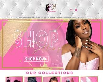 Shopify Website Design, Pink Shopify Theme Website, Premade Website Template, Beauty eCommerce Website, Boutique Website Design