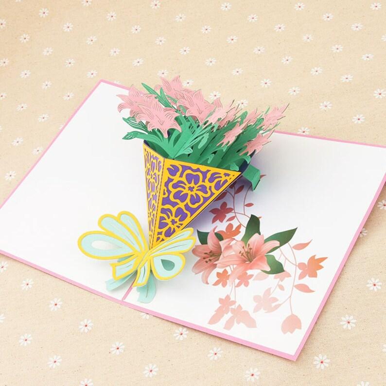 Handmade pink flower bouquet 3D Pop Up Card 3D flower Birthday Popup Card 3D pink flower Greeting Card 3D mother/'s day valentine flower card