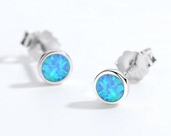 Sterling silver Healing gift Healing Dainty opal earrings Deep blue opal Opal
