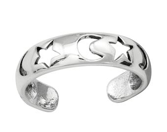 Moon Star Toe Ring • 925 Sterling Silver • Adjustable Toe Ring • Moon Toe Ring • Star Toe Ring • Beach Toe Ring • Summer ring • Gift Ideas •