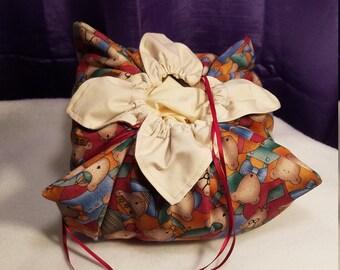 Mala Bag Psychedelic Purple Roses Drawstring Bag