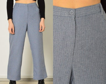 25\u201d Pinstripe Pants High Waisted 90s Cotton Tapered Leg Pleated Womens Cotton Pants  Womens 90/'s Pants  90s Cotton Pants XSmall