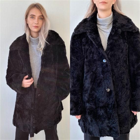 Vintage 90s Faux Fur Black Coat Women Winter Coat