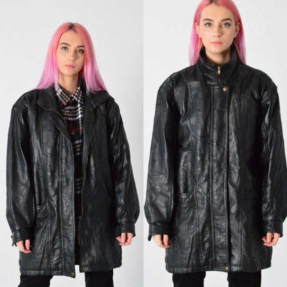 Vintage 90s  Abstract Zip Leather Coat Women Leath
