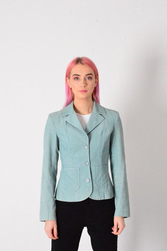 Vintage 90s Pastel Blue  Corduroy Women Blazer