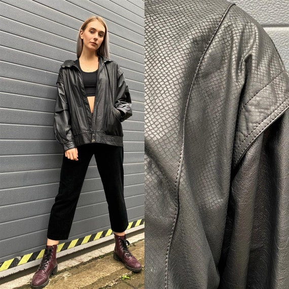 Vintage 90s Black Leather Jacket