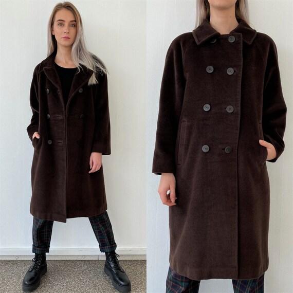 Vintage 90s Beige Sued Winter Women Coat Removable
