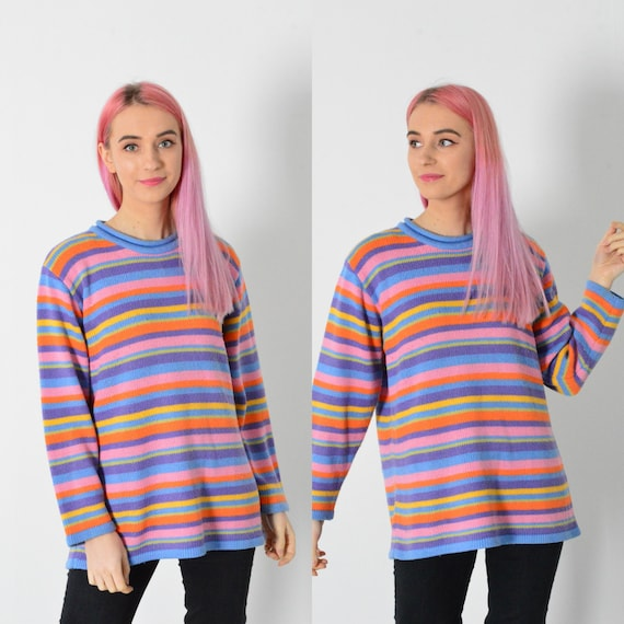 Vintage 90s Striped Colorful Rainbow Knit Jumper