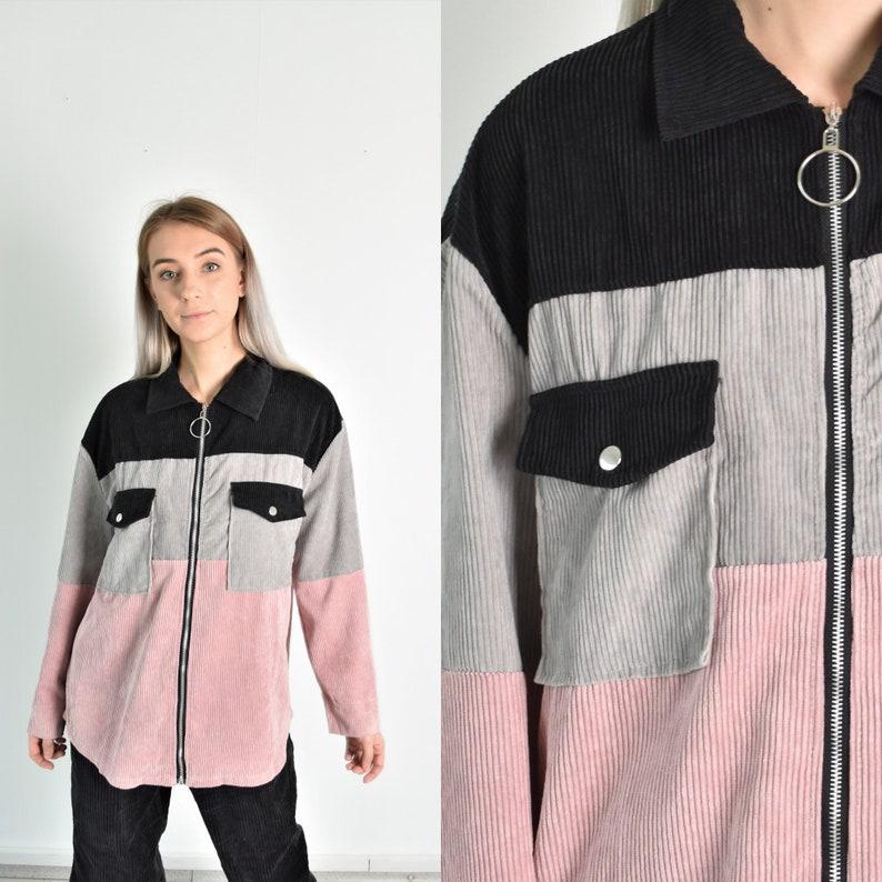 Y2K Pink Black Grey Corduroy Long Sleeve Blouse