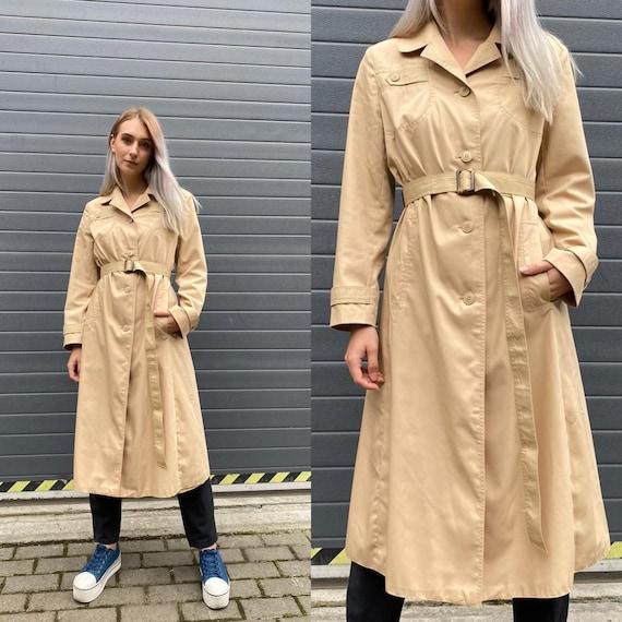 Vintage 90s Beige Long Trench Coat