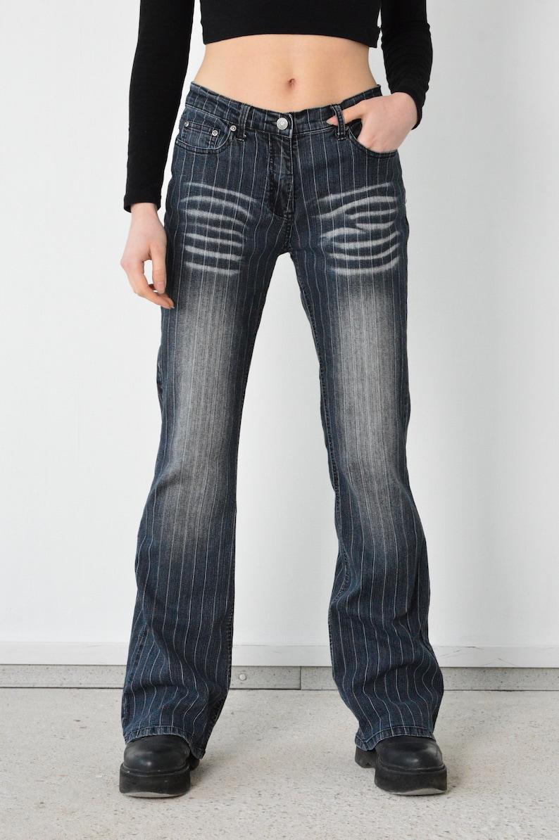 Y2K Blue Striped White Denim Pants