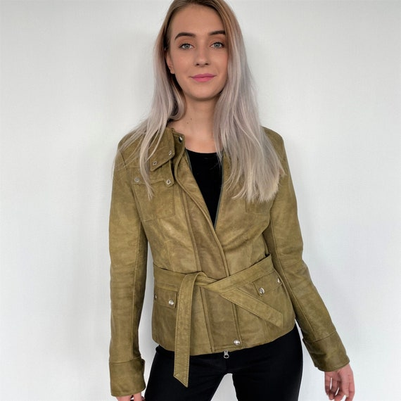 Vintage 90s Leather Grunge Jacket Green Women With