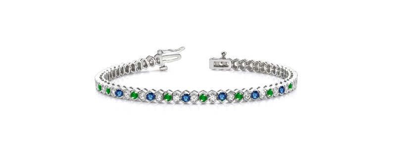 5.0CT Sapphire /& Emerad Diamond Tennis Bracelet For Women With 14kt White Gold Over Sterling Silver,Diamond Tennis Bracelet,Tennis Bracelet