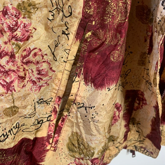 Vintage silk bomber jacket with wine red pattern … - image 4