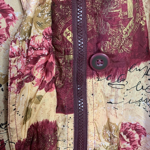 Vintage silk bomber jacket with wine red pattern … - image 2