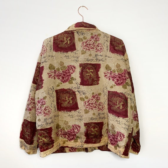Vintage silk bomber jacket with wine red pattern … - image 7