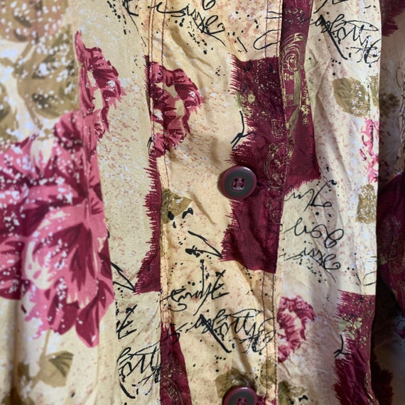 Vintage silk bomber jacket with wine red pattern … - image 3