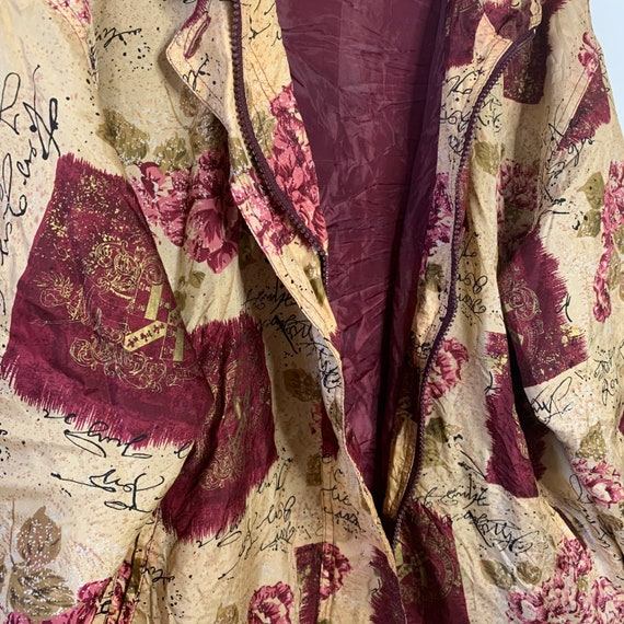 Vintage silk bomber jacket with wine red pattern … - image 6