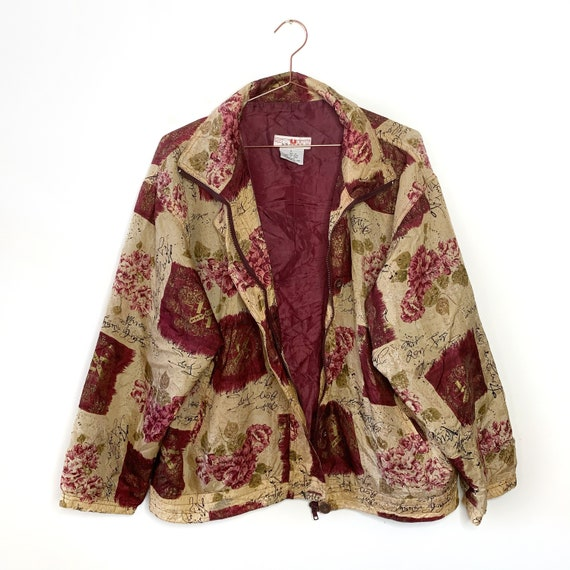 Vintage silk bomber jacket with wine red pattern … - image 1