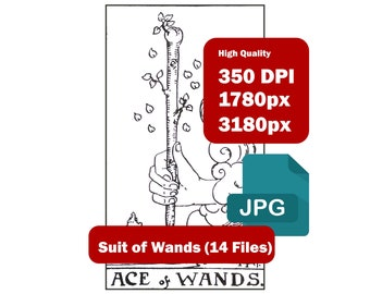 Rider Waite 14 Cards Suit of Wands High-resolution (350 DPI) JPG files Black and White (1780 x 3180px) Immediate Download Zip File