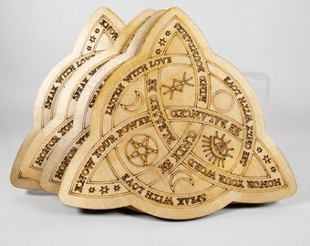 Words of Wisdom Witches Knot 4″ Wood Coasters (Set of 4)