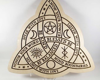 Words of Wisdom Witches Knot 12″ wood sign