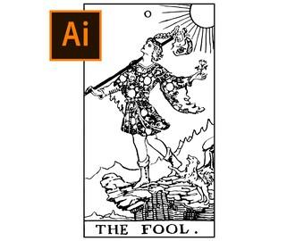 Rider Waite The Fool Card Adobe Illustrator (.ai) file Black and White