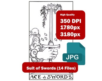 Rider Waite 14 Cards Suit of Swords High-resolution (350 DPI) JPG files Black and White (1780 x 3180px) Immediate Download Zip File