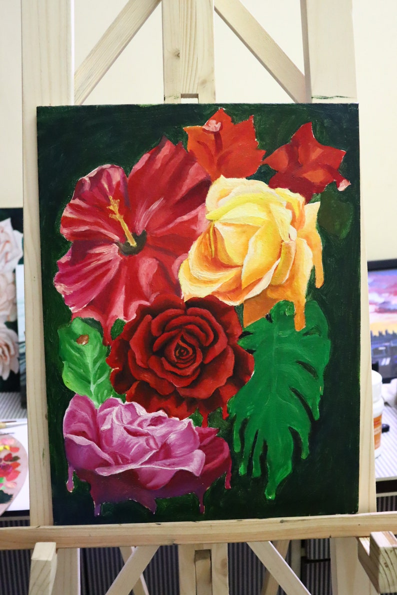valentines day gift Roses dutch floral art dark background red flower painting interior decoration large wall art hibiscus wall art