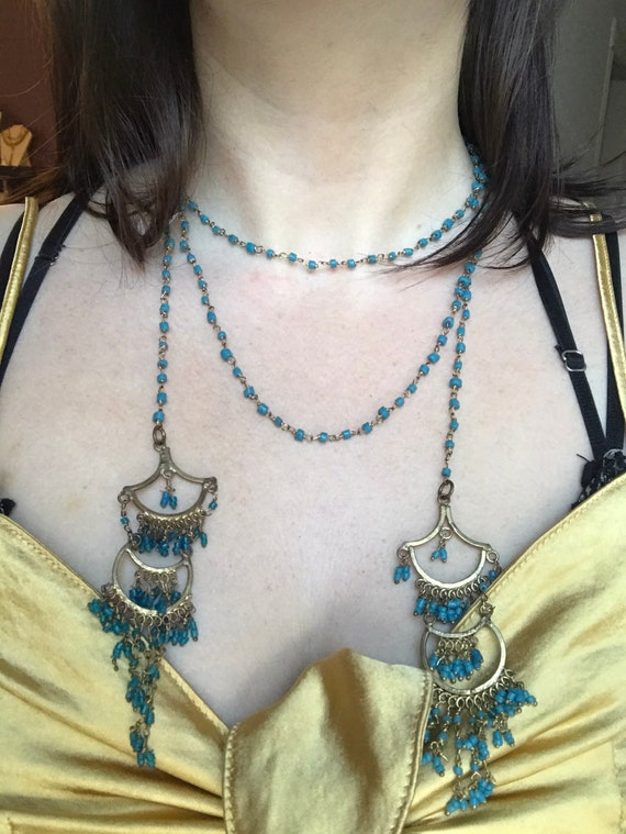 Lariat Turquoise Bead Necklace