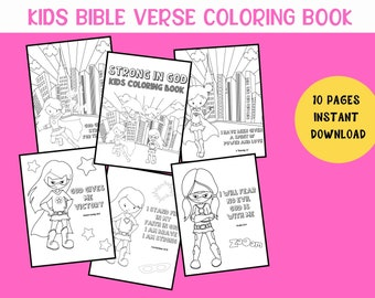 Kids Bible Coloring, Scripture Coloring Pages, Strong in God, Bible Verse Coloring Printable, Girls Coloring Book, Kids Superhero Coloring