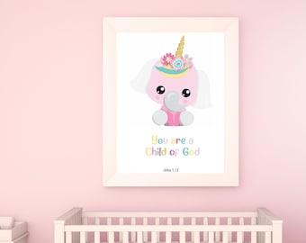 Unicorn wall art girls room, Unicorn nursery print, John 1 12, Child of God wall art, Girl bedroom unicorn print, Bible verse wall art girls