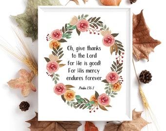Printable Thanksgiving Sign, Psalm 136 wall art, Thanksgiving Holiday Wall Art, Gratitude décor, Digital Fall sign, Biblical Wall Art Prints