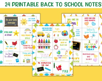 Printable lunchbox notes, Kids lunch notes, Back to school notes, Printable school notes, Preschool lunch notes, Bible verse lunch notes