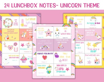 Girls lunch notes, Printable lunchbox notes, Unicorn kids printables, Unicorn school cards, Back to school notes, Scripture notes for kids