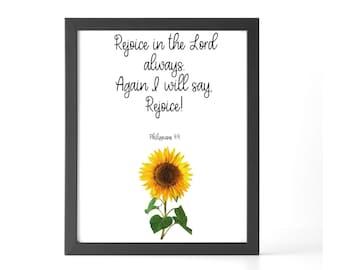 Philippians 4 4, Joy wall art, Christian wall art flower, Joy Bible Verse, God quote wall art, Scripture printable wall art watercolor