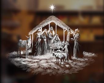 The Nativity, reusable, window sticker