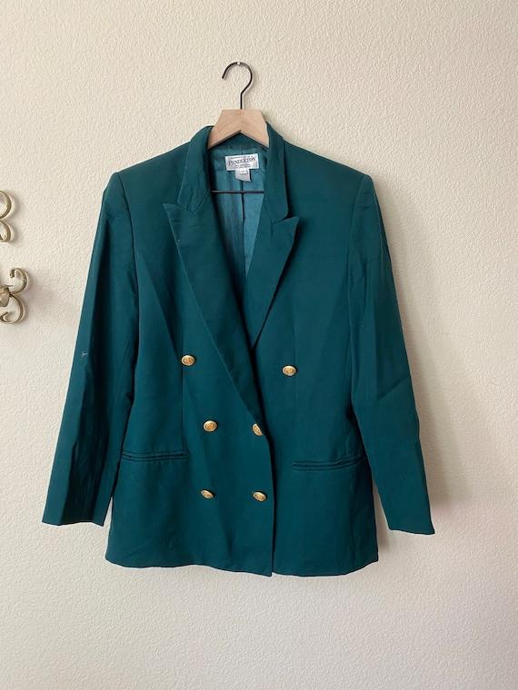 Boxy Pendleton Double Breasted Green Blazer-