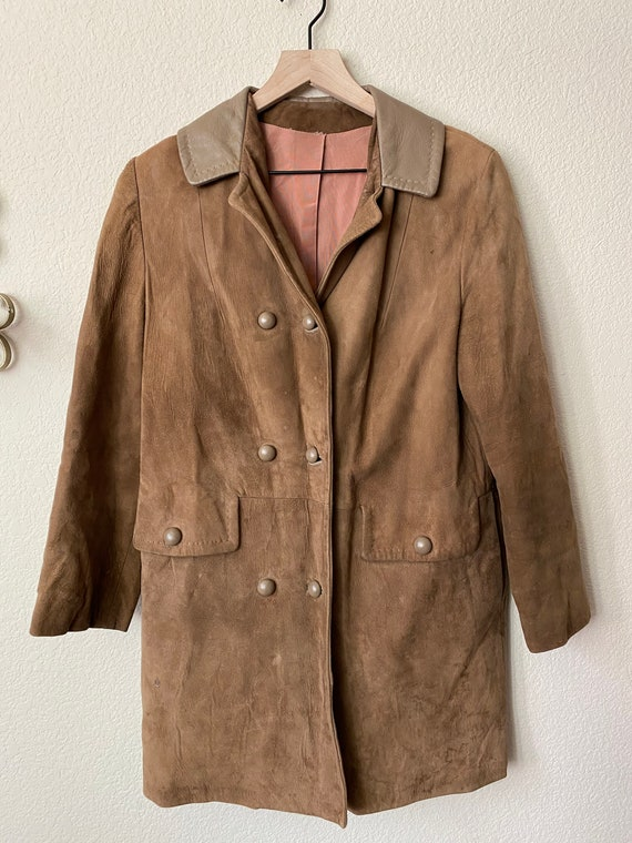 1970s Suede Brown Blazer with Leather collar